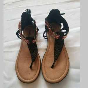 Minnetonka Black Beaded Leather Suede Sandals 7